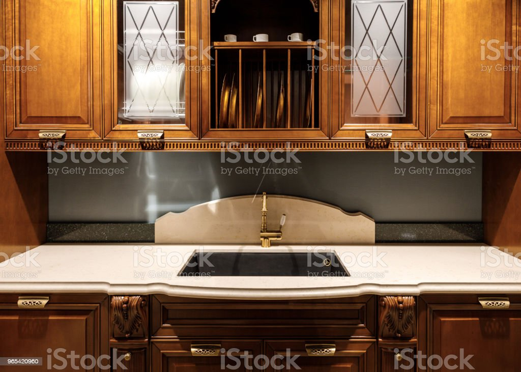 Renovated kitchen interior with vintage style sink zbiór zdjęć royalty-free