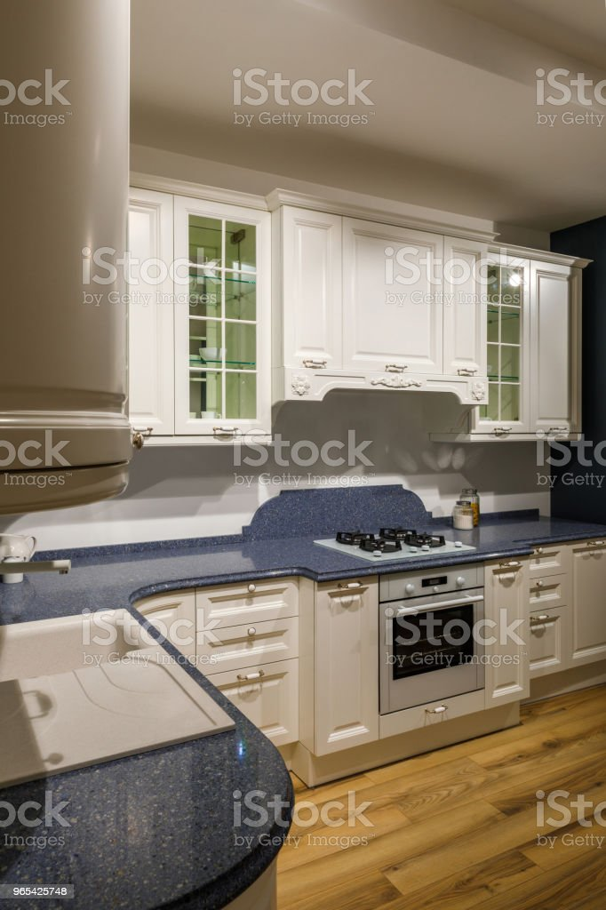 Renovated kitchen interior with white cabinets royalty-free stock photo