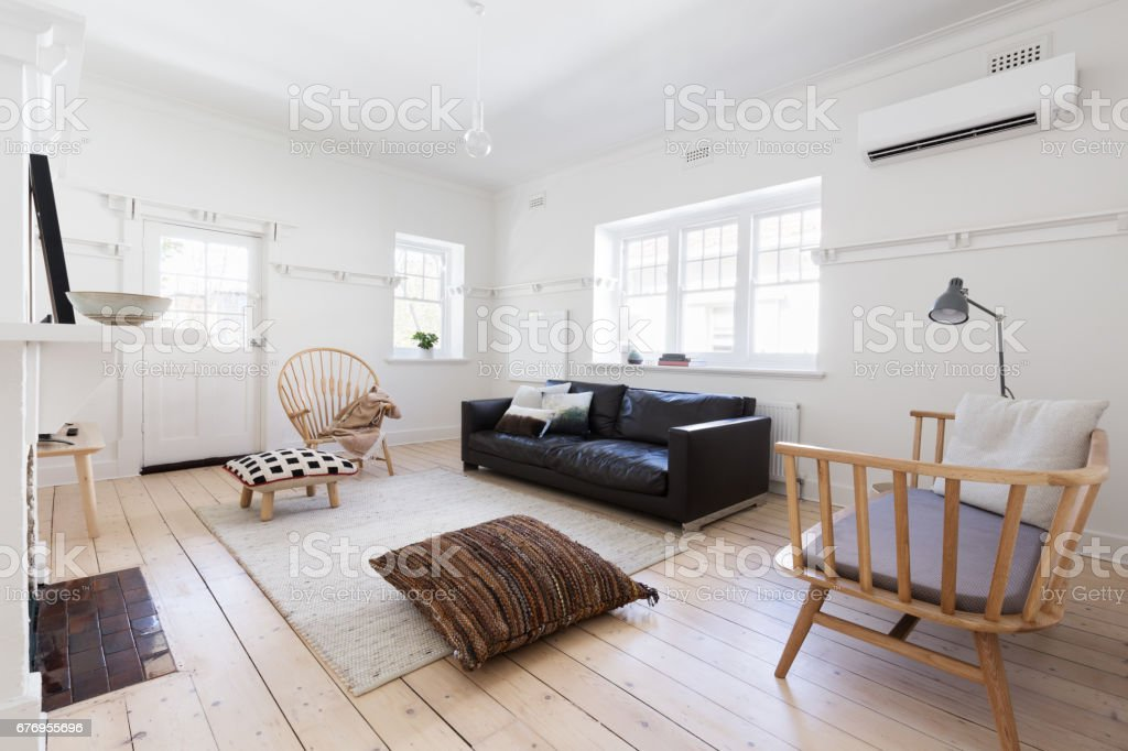 Renovated old and spacious apartment with beautiful Scandi styling royalty-free stock photo
