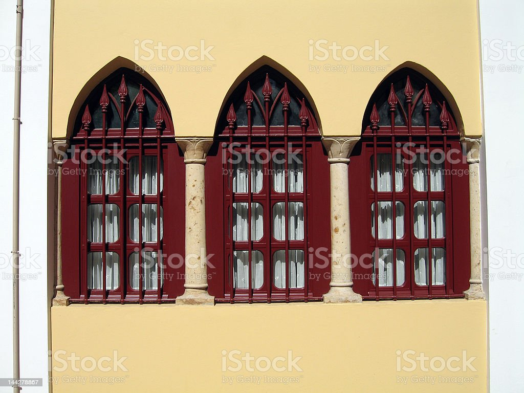 Renovated old style windows stock photo