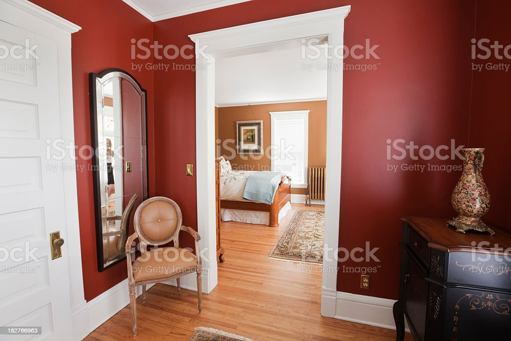 Renovated, Restored Victorian Home Interior, a Bedroom in Classic Style stock photo