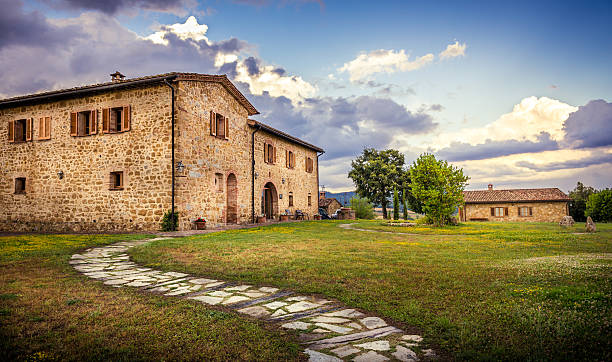 Renovated tuscan manor stock photo