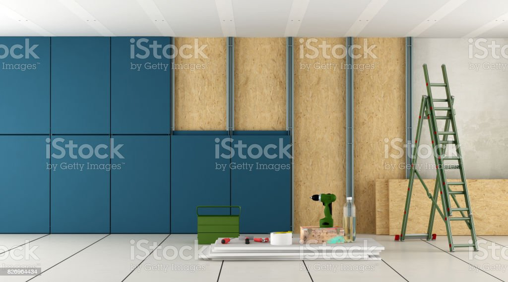 Renovation and nsulation of an old room stock photo