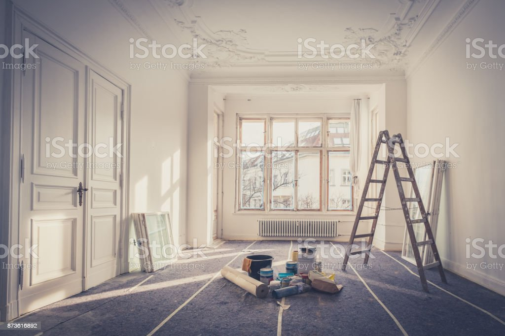 renovation - apartment during  restoration - home improvement stock photo