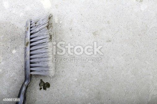 istock Renovation at home. Blank old broom on construction site 455661355
