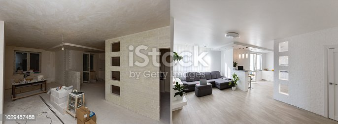 istock Renovation before and after - empty apartment room, new and old, 1029457458