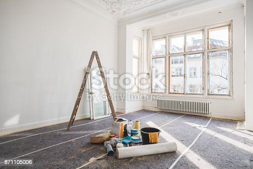 renovation concept - room in old building during restoration -
