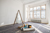 renovation concept - room in old building during restoration