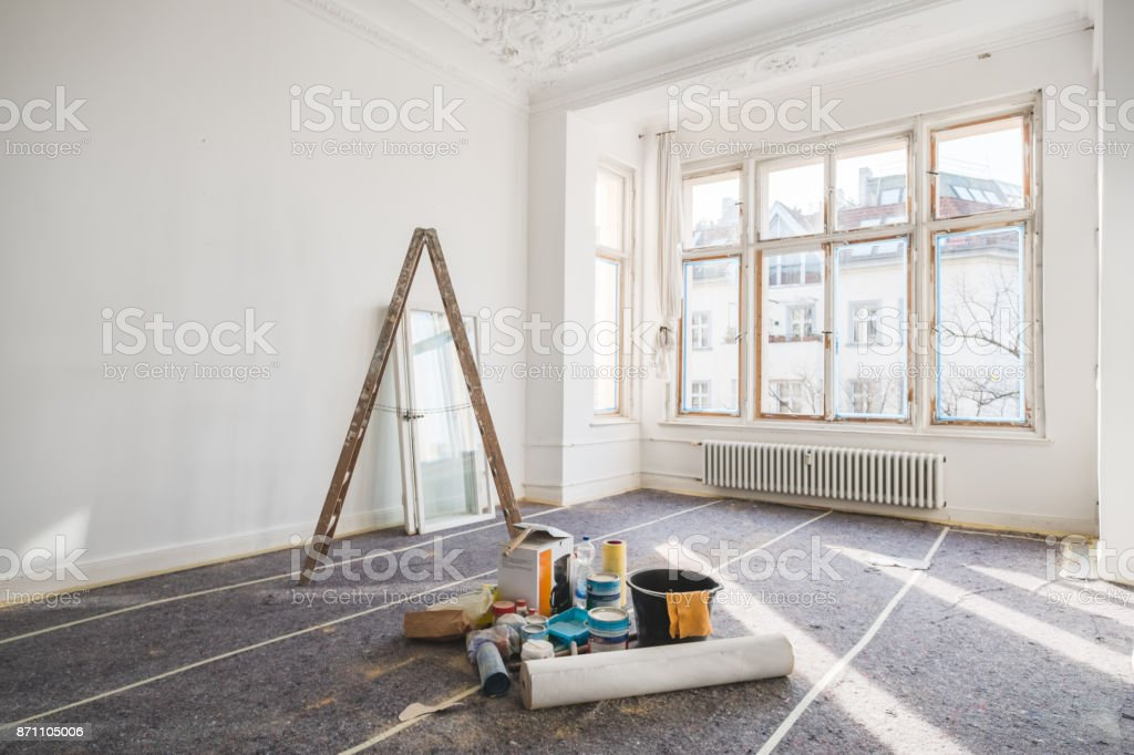 renovation concept - room in old building during restoration stock photo