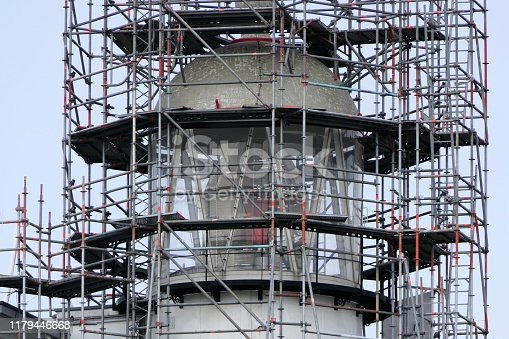 Top of the lighthouse Vlieland surrounded by scaffolding during renovation