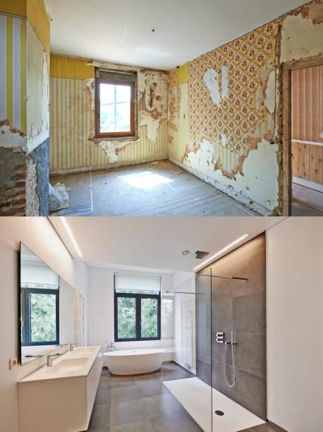 Renovierung eines Badezimmers vor und nach – Foto