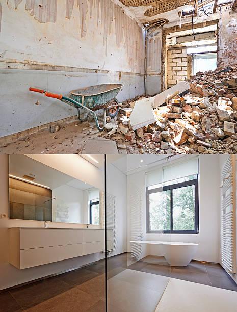 renovierung der badezimmer vor und nach dem - badezimmer fotos stock-fotos und bilder