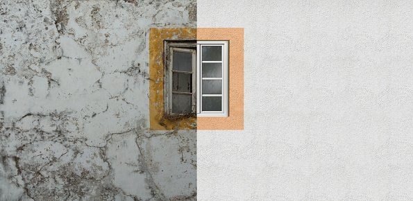 conceptual image concerning the renovation of a weathered old house facade and a cracked old window