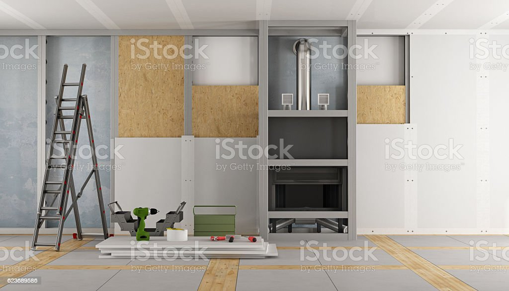 Renovation of an old house with fireplace stock photo