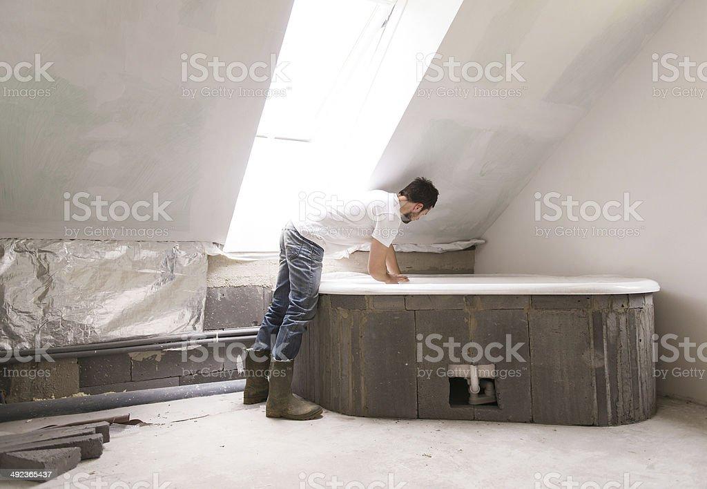 Renovation of bathroom stock photo