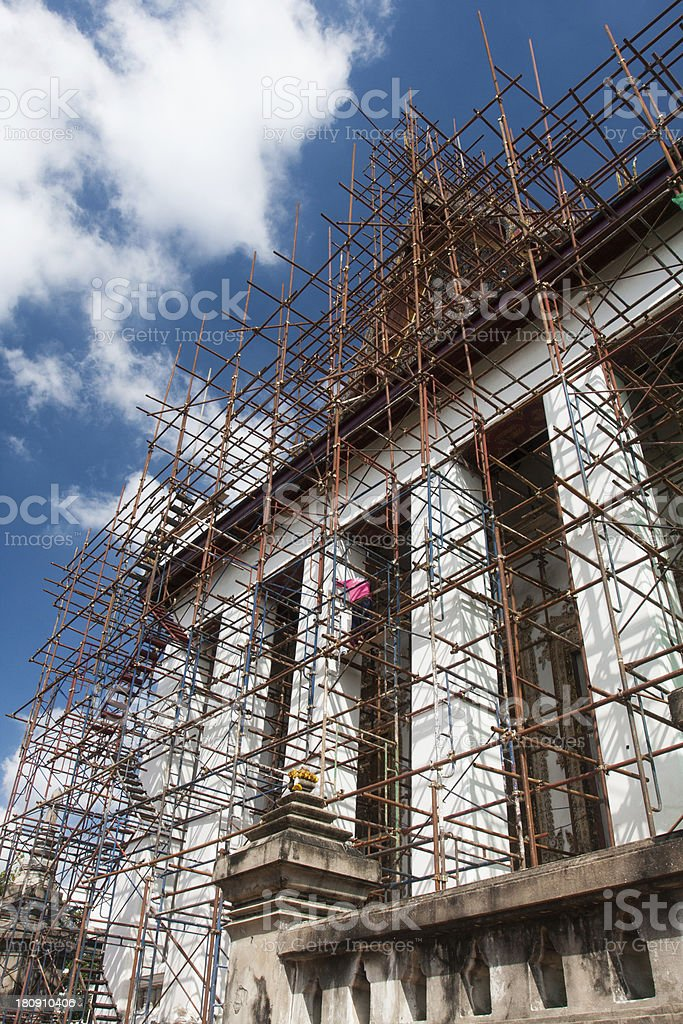 Renovation of old Buddhist church royalty-free stock photo