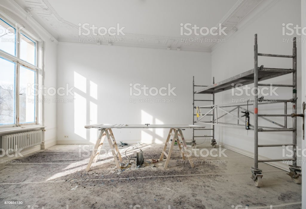 renovation - old flat during renovation  / restoration stock photo