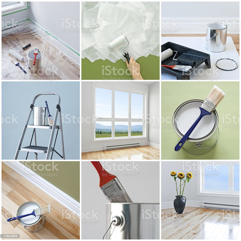 Renovations in a modern home stock photo