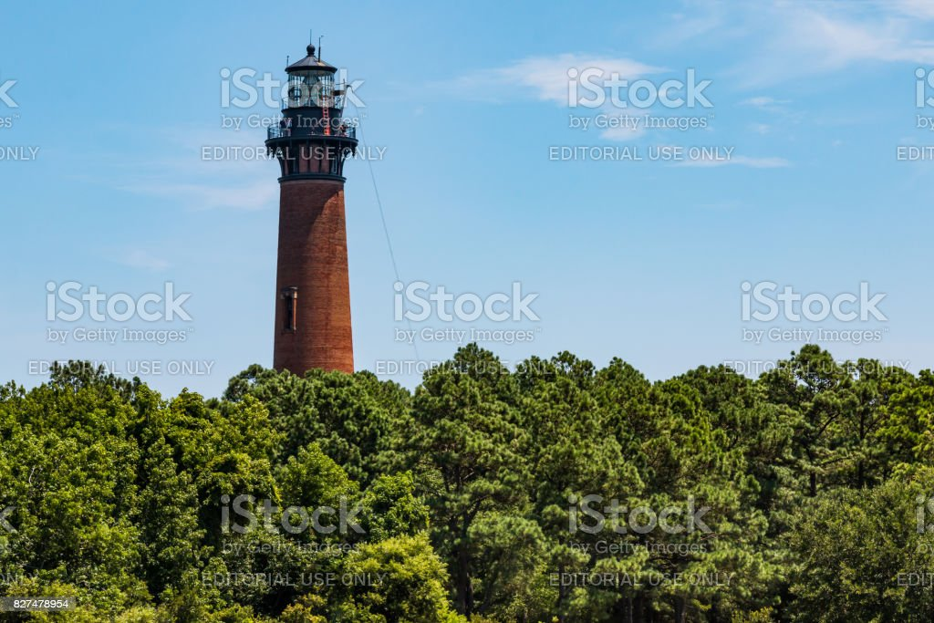 Renovations on the Currituck Beach Lighthouse stock photo