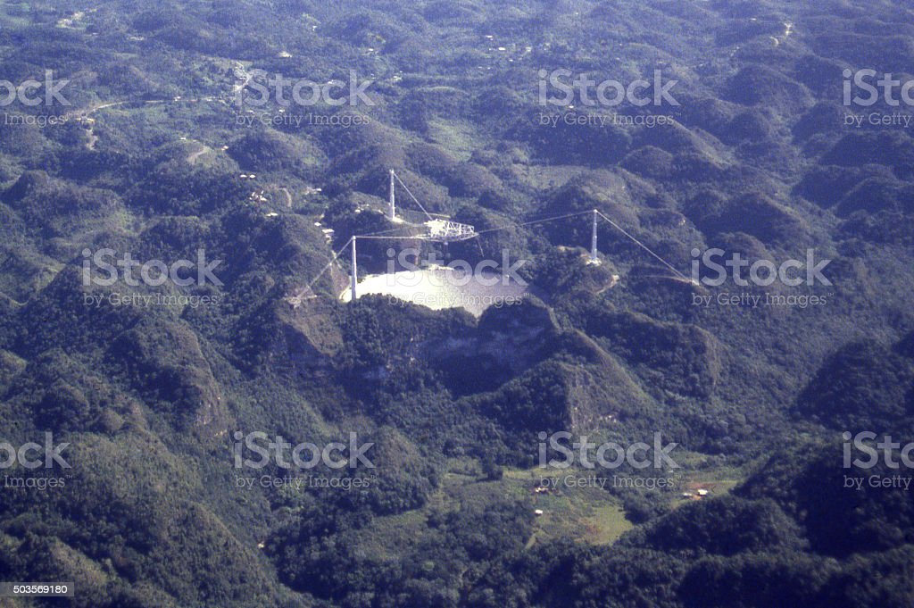 Renowned observatory with radio telescope in Arecibo Puerto Rico stock photo