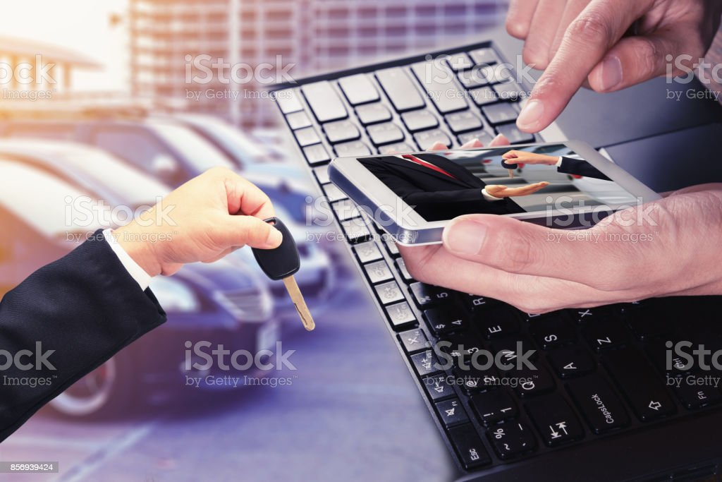 rent a car on mobile stock photo