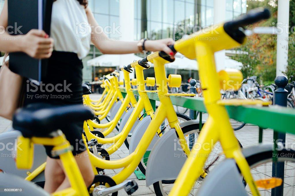 Rentable eco city bikes stock photo