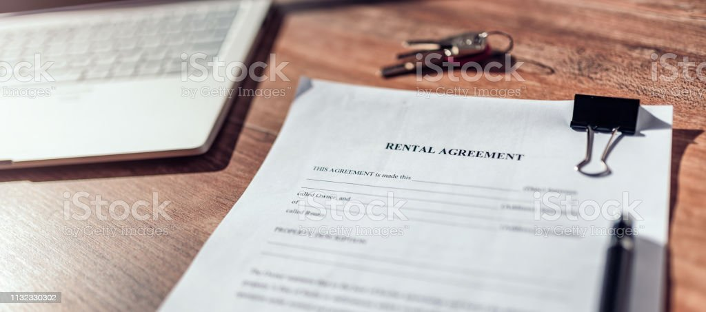 Rental agreement contract on the deck