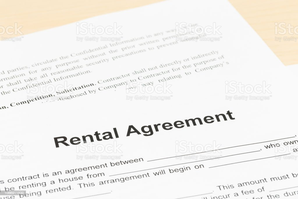 Rental agreement; document is mock-up