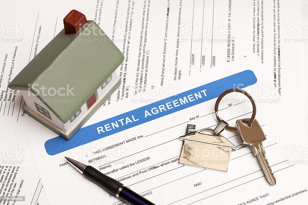 rental agreement form stock photo