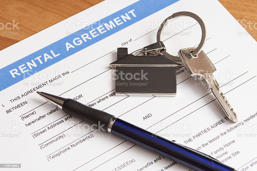 rental agreement form stock photo