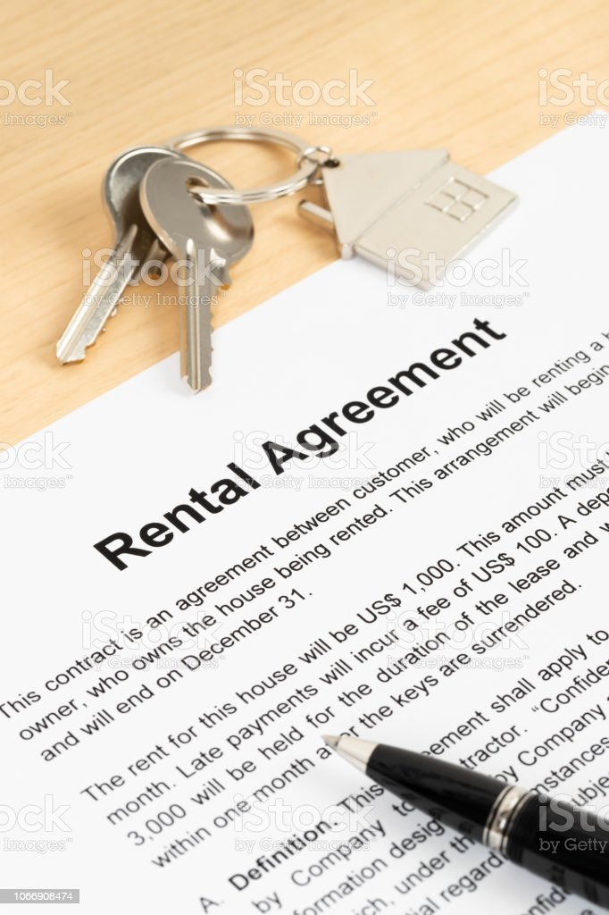 Rental agreement paperwork; document is mock-up