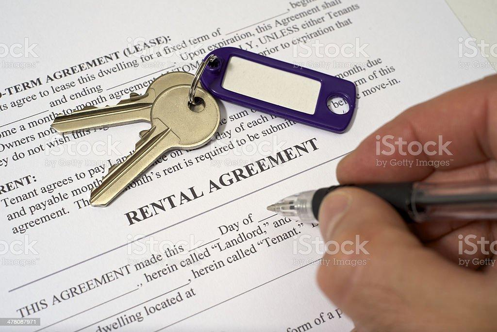 Rental agreement stock photo