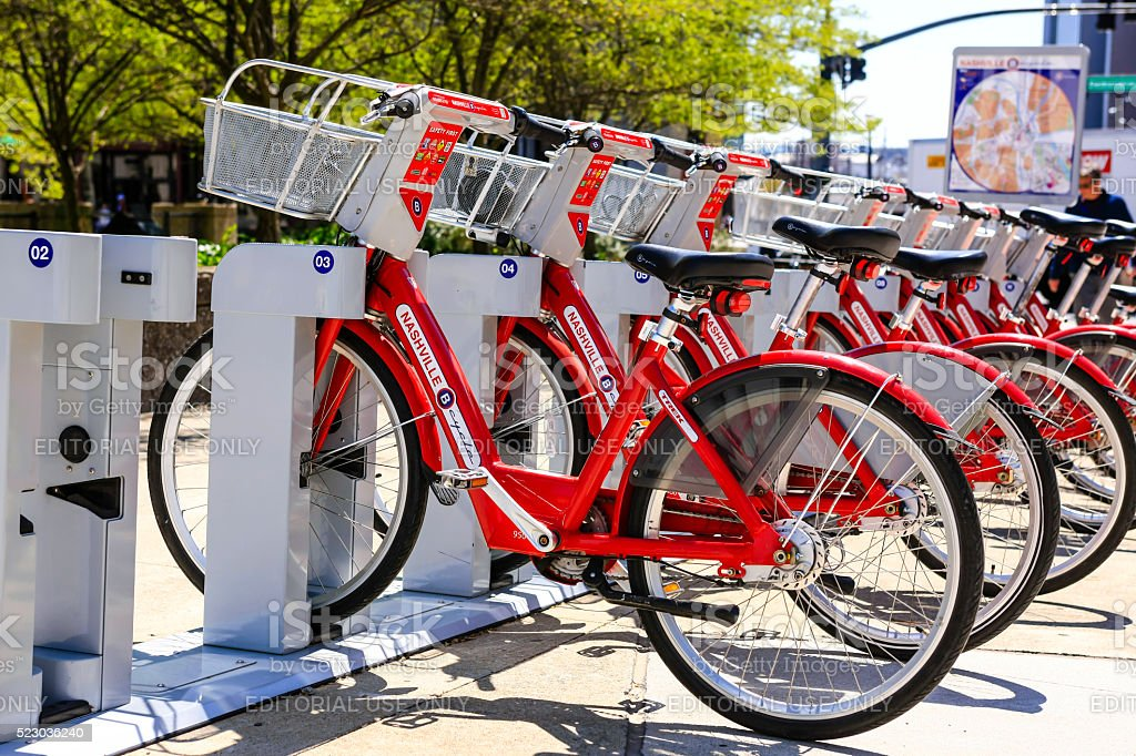 Rental Bicycles in downtown Nashville, Tennessee stock photo