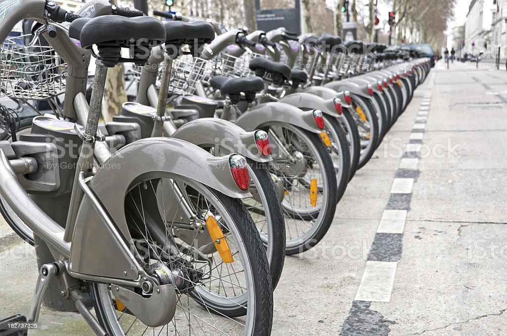 Rental bicycles in Paris royalty-free stock photo