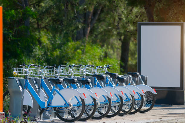 Rental bicycles standing in row on street stock photo