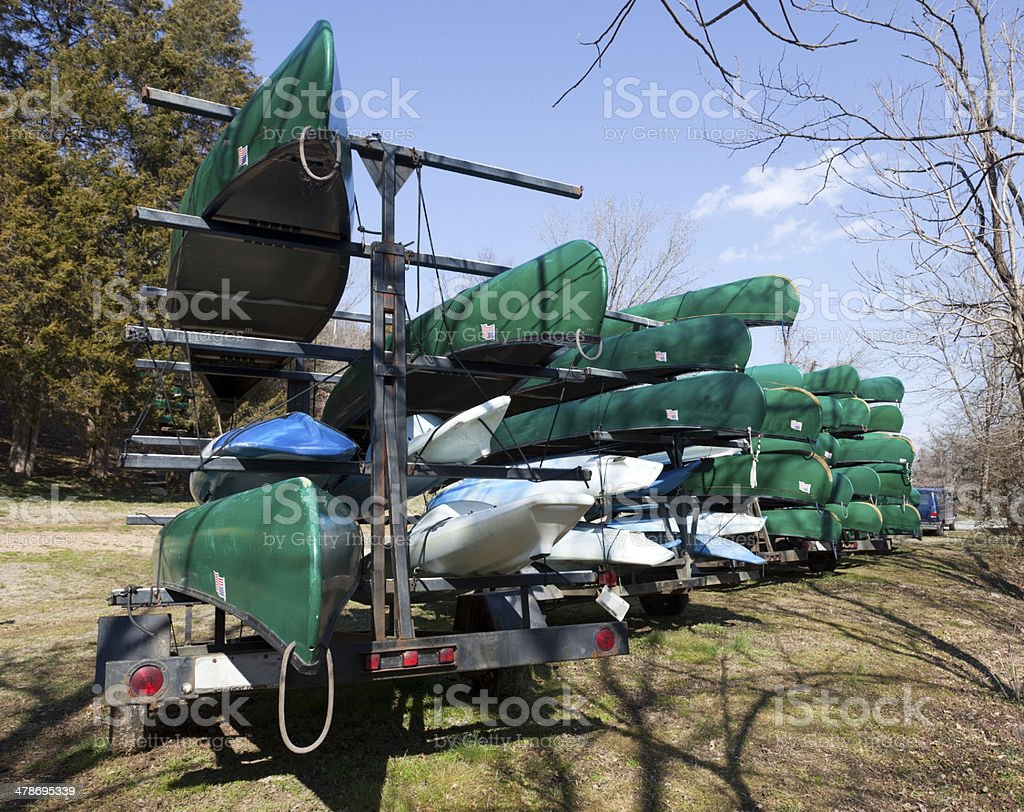 Rental Canoes stock photo