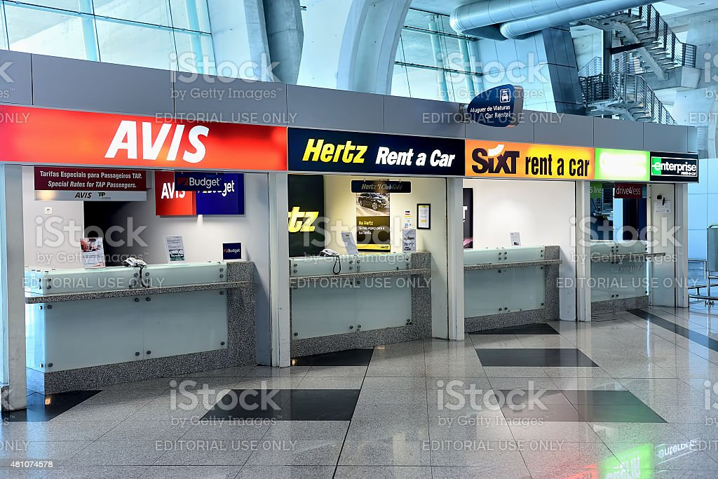 Rental car offices in Francisco Sá Carneiro Airport, Porto stock photo