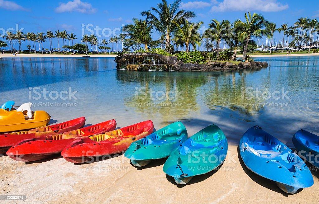 Rental Kayaks on Waikiki Beach stock photo