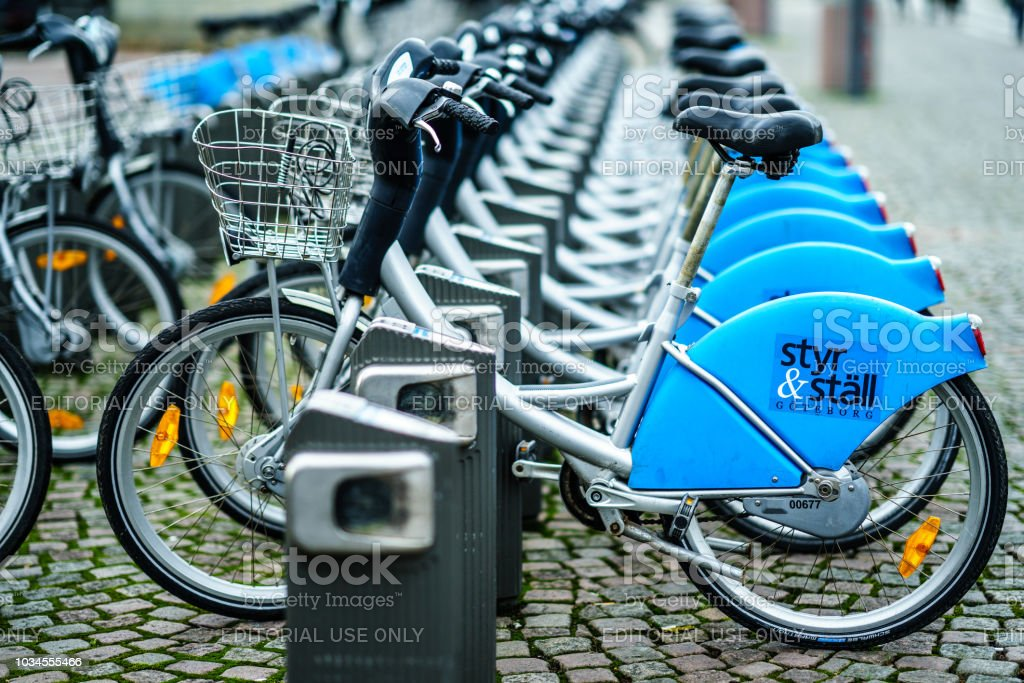 Rental Public bikes are waiting for the people to take in Göteborg stock photo