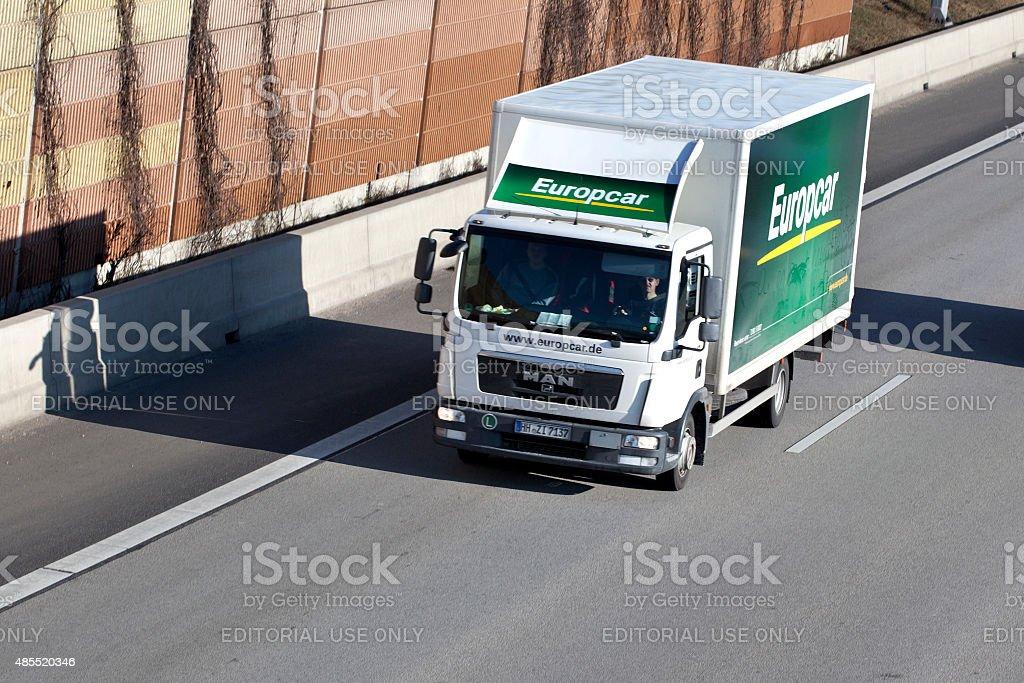 Rental truck on german autobahn stock photo