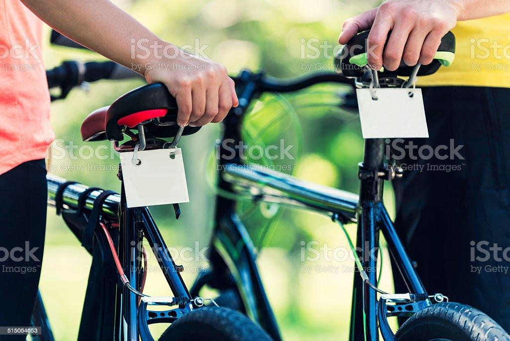 Renting bicycles stock photo