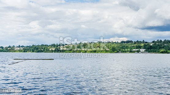 A view of homes along Lake Washington in Renton, Washington.