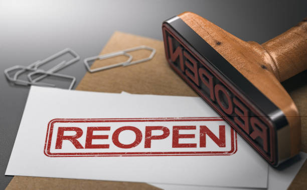 Reopen closed company or commerce. Communication concept. stock photo