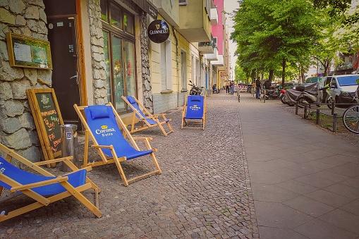 Reopened Berlin street restaurant after restrictions lift during coronavirus shutdown in Germany