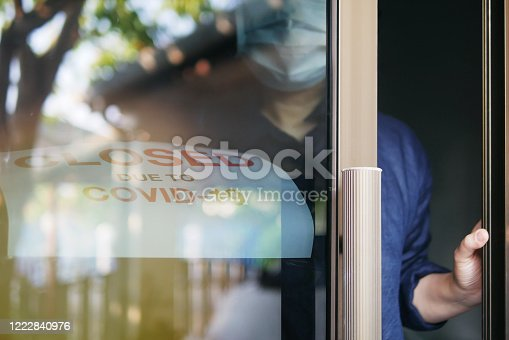istock Reopening for business amid the novel Coronavirus COVID-19 pandemic concept. Unidentified person wearing protective mask removing closed sign and opening business office or store shop front door. 1222840976