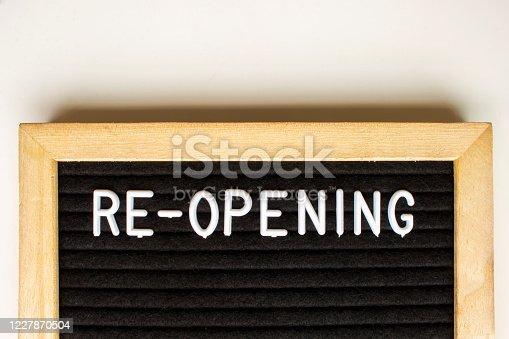 istock Re-opening, message on a blackboard 1227870504