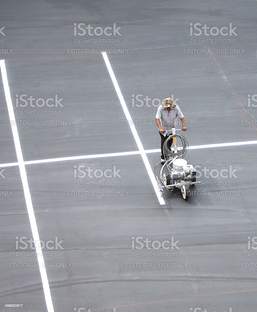 Repainting The Parking Lot Lines stock photo