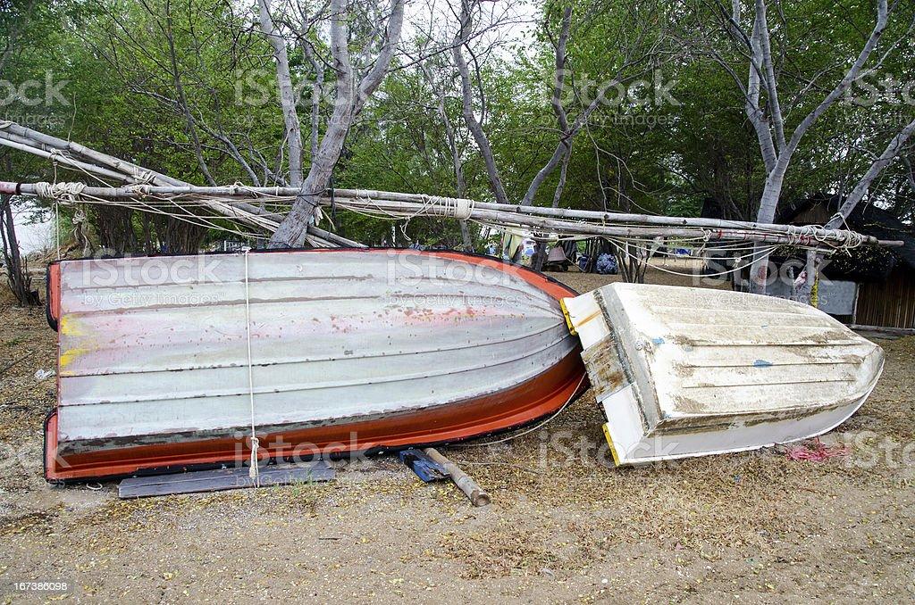 Repair and maintenance boat royalty-free stock photo