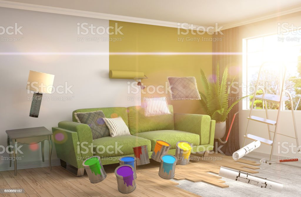 Repair And Painting Of Walls In Room 3d Illustration Stock Vector ...