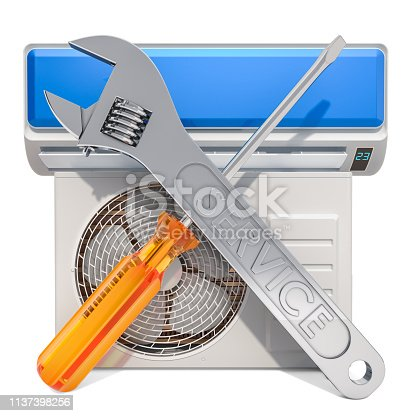istock Repair and tech support of air conditioners concept, 3D rendering 1137398256